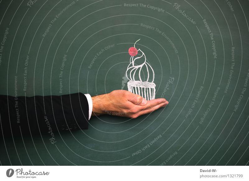 Cupcake Mensch Mann Hand Erwachsene Leben Kunst Lifestyle Lebensmittel maskulin elegant Geburtstag Ernährung Kreativität Kochen & Garen & Backen süß lecker