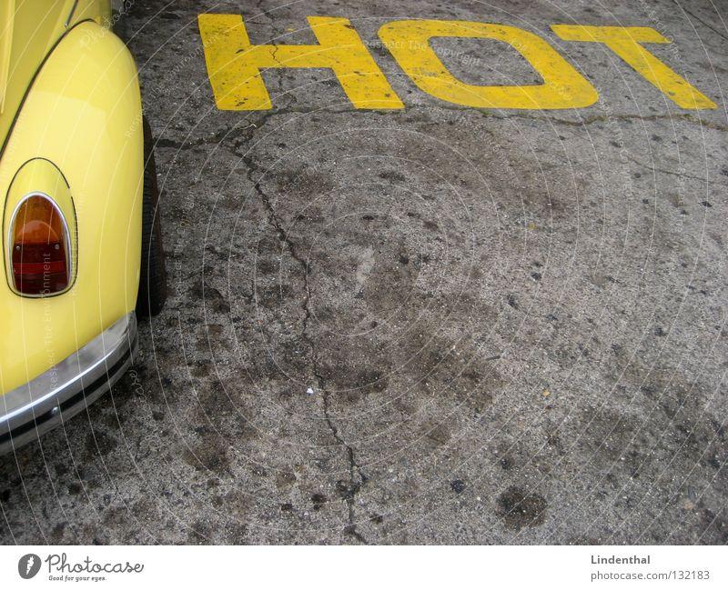 HOT CAR-STYLE gelb Straße Stil PKW Verkehr KFZ Schriftzeichen heiß Käfer Angelköder