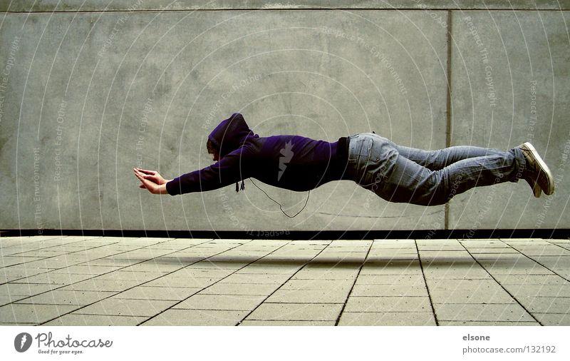 ::SUPERELSONE:: Mensch Wand grau träumen Denken fliegen Beton Konzentration Typ falsch Schweben Erfinden utopisch unmöglich