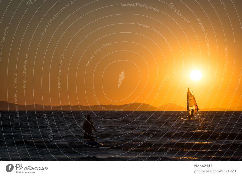 Urlaubsreif Umwelt Natur Landschaft Wasser Himmel Horizont Sommer Schönes Wetter Küste Schwimmen & Baden gelb gold Ferien & Urlaub & Reisen Urlaubsstimmung