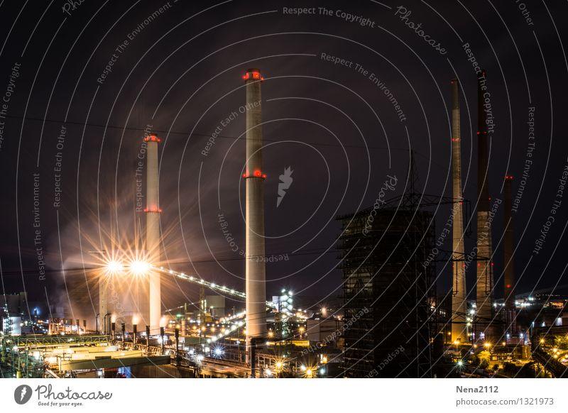 Nachtschicht III dunkel Umwelt Beleuchtung Arbeit & Erwerbstätigkeit Energiewirtschaft Luft Technik & Technologie Industrie Schutz Industriefotografie Fabrik