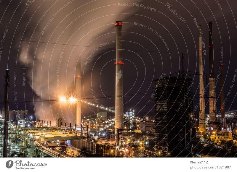 Nachtschicht IV dunkel Umwelt Beleuchtung Arbeit & Erwerbstätigkeit Energiewirtschaft Luft Technik & Technologie Industrie Schutz Industriefotografie Fabrik
