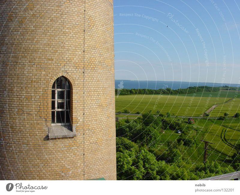 Fernblick Meer Sommer Strand Ferne Fenster Stein Mauer Landschaft Küste Horizont Aussicht Turm historisch Ostsee Nordsee