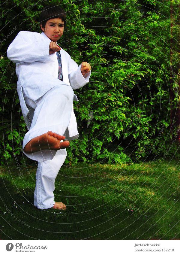 Bruce Lee Karate Judo Kampfsport weiß grün üben Kick springen Kampfanzug Fußtritt treten Japan Samurai Zufriedenheit schlagen Kämpfer Karateka Gegner kämpfen