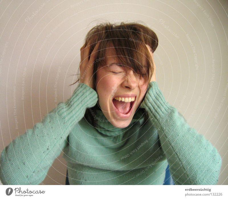 Manchmal... Haare & Frisuren Kopf Ohr Mund Hand Krallen fangen schreien Wut Sorge Trauer Angst Verzweiflung Ärger Schwäche Wunsch laut stumm verkrampft Ausweg