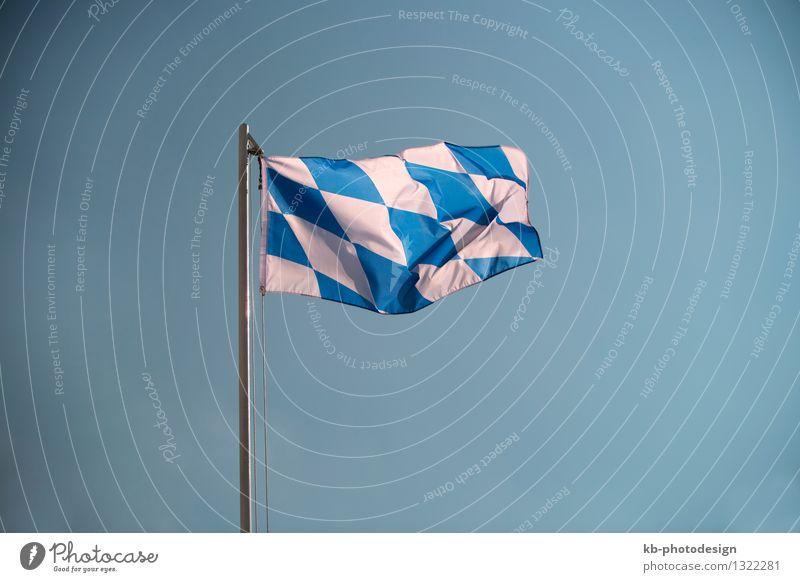 Bavarian flag in front of a blue sky Ferien & Urlaub & Reisen Oktoberfest Unternehmen Wind Fahne Tourismus Tradition german tourism tourists germans traditional