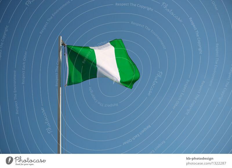 Nigerian flag in front of blue sky in the wind Ferien & Urlaub & Reisen Tourismus Ferne Business Wind Fahne nation Africa news Nationalitäten u. Ethnien
