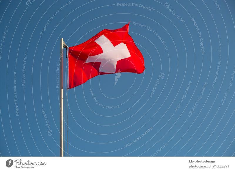 Switzerland flag in front of a blue sky Ferien & Urlaub & Reisen Ausflug Business Wind Fahne Tourismus Swiss free Swiss franc independent nation