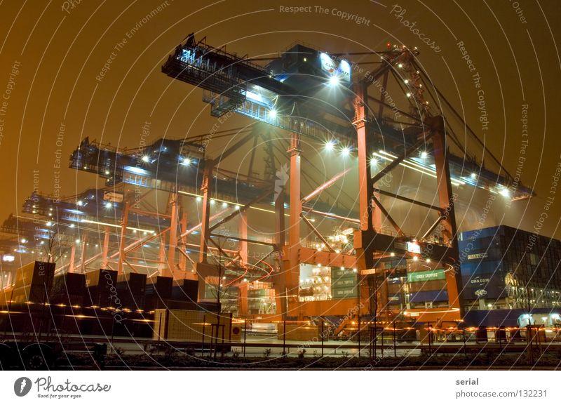 core industrie II Leben kalt Arbeit & Erwerbstätigkeit Bewegung Metall orange Kraft Energiewirtschaft Industrie Hafen Gastronomie Reihe Maschine Kran Container verladen