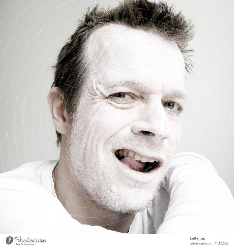 joker Ass Tanztheater verrückt Krankheit Psychiatrie Tick Wut Tier Monster Mann weiß Schminke Bäcker Kalk Bart Lippen Hemd Pantomime Sonnencreme auffordern