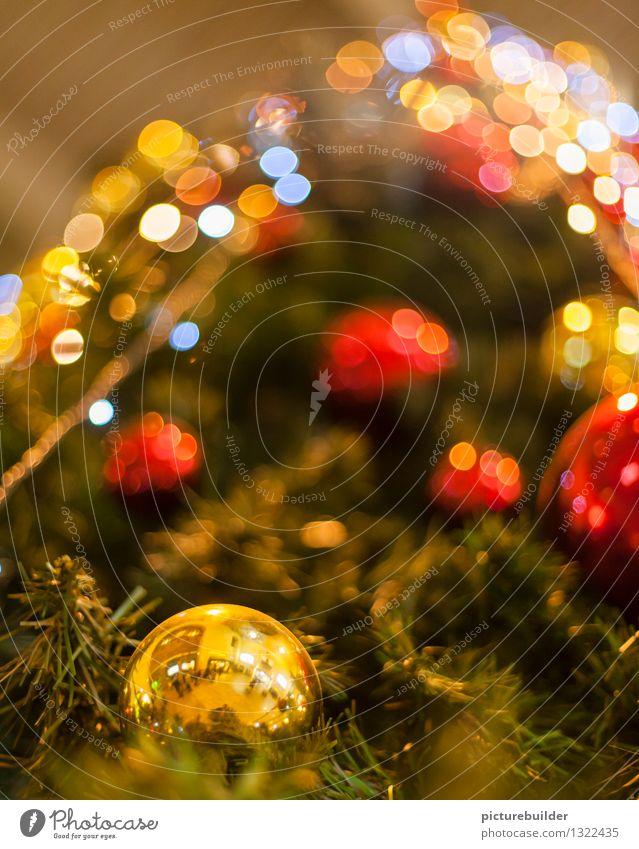 funkelnder Weihnachtsbaum Dekoration & Verzierung Weihnachten & Advent Winter Baum Christbaumkugel Feste & Feiern gold grün rot festlich Farbfoto Innenaufnahme