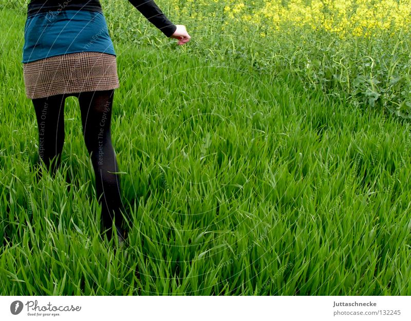 Alice im Wunderland II Frau Natur grün schwarz Wiese Gras Frühling Feld gehen laufen rennen Frieden Flucht verloren Mensch Raps