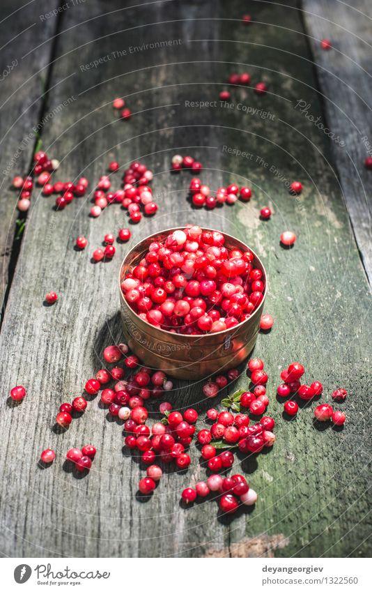 Cranberries in einer Schüssel Frucht Essen Diät Schalen & Schüsseln Tisch Küche Natur Herbst frisch hell natürlich saftig rot Preiselbeere hölzern Preiselbeeren