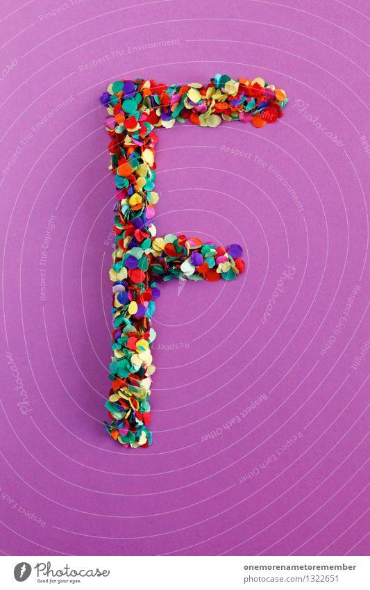 F Kunst Kunstwerk ästhetisch Frau Buchstaben Typographie alphabetisch Mosaik Konfetti mehrfarbig viele Punkt violett Farbfoto Innenaufnahme Experiment abstrakt