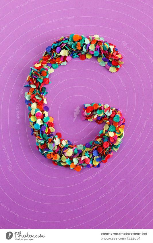 G Kunst Kunstwerk ästhetisch violett Buchstaben Typographie alphabetisch viele Mosaik Konfetti Punkt mehrfarbig Farbfoto Innenaufnahme Detailaufnahme Experiment