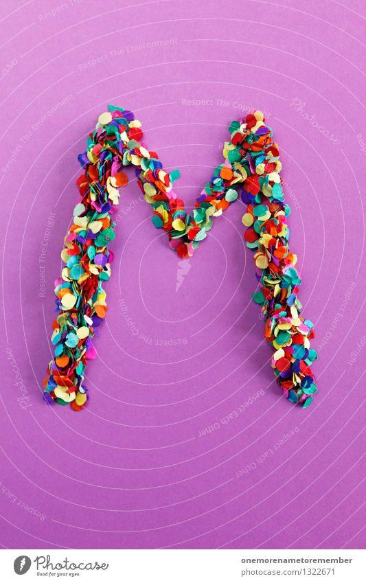 M Kunst Design ästhetisch Kreativität Idee Buchstaben Punkt viele violett Typographie Kunstwerk Konfetti Mosaik alphabetisch