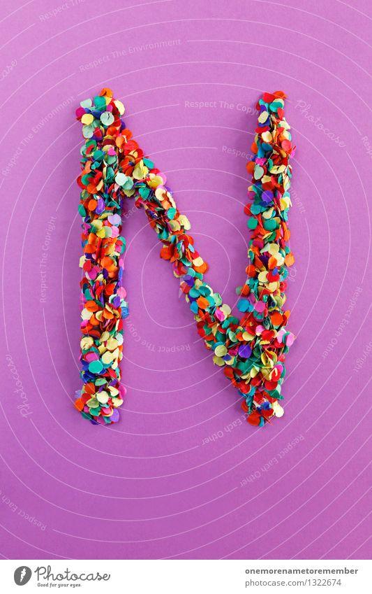 N Kunst Kunstwerk ästhetisch Buchstaben alphabetisch Typographie viele Punkt Mosaik Kreativität Design Idee Konfetti Farbfoto mehrfarbig Innenaufnahme