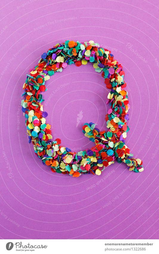 Q Kunst Design ästhetisch Kreativität Idee Buchstaben Punkt viele violett Typographie Kunstwerk Konfetti Mosaik gebastelt alphabetisch