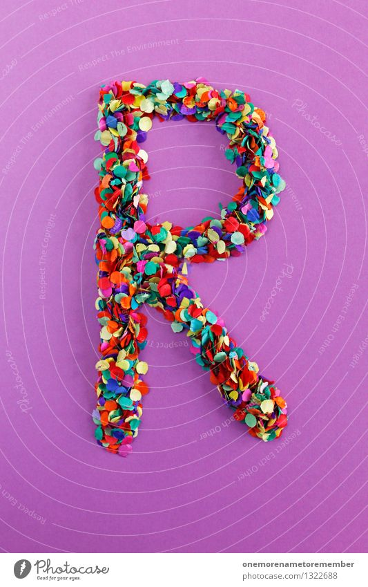 R Kunst Design ästhetisch Kreativität Idee Buchstaben Punkt viele Typographie Kunstwerk Konfetti alphabetisch