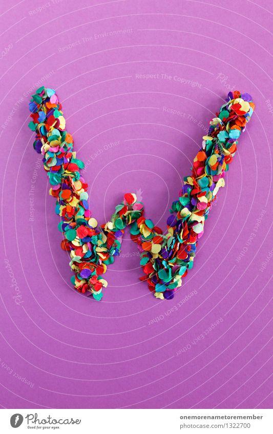 W Kunst Kunstwerk ästhetisch Buchstaben Typographie violett Kreativität Design Designwerkstatt Designmuseum gestalten viele Mosaik Konfetti Farbfoto mehrfarbig