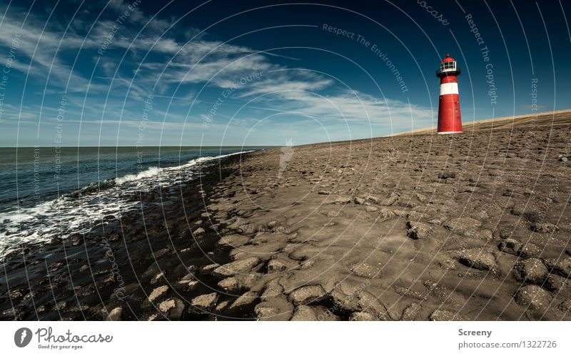 Standhaft Himmel Ferien & Urlaub & Reisen blau Sommer weiß Meer rot Landschaft Wolken Ferne Strand Küste braun Tourismus Wellen Kommunizieren