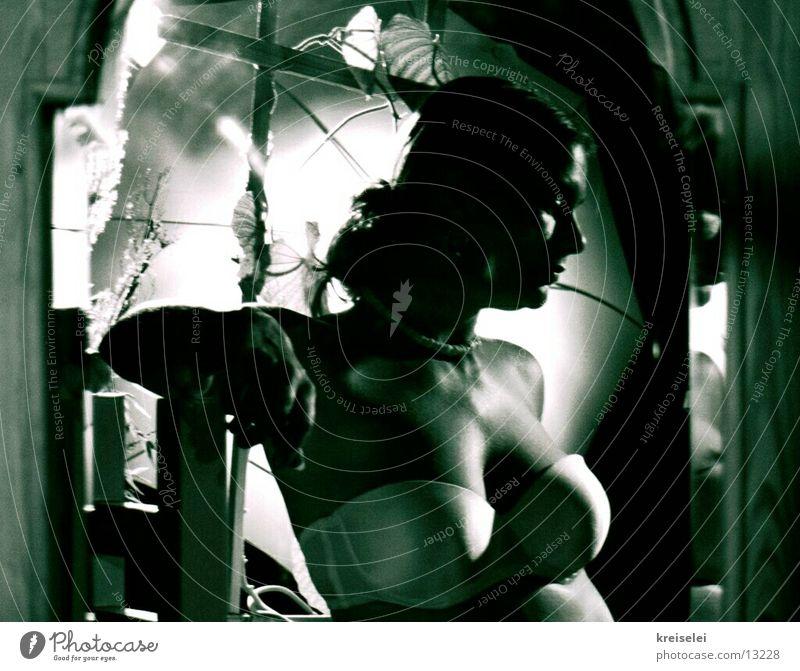 lässig Frau Frauenbrust Brust Spiegel Unterwäsche Lichtspiel Spiegelbild BH