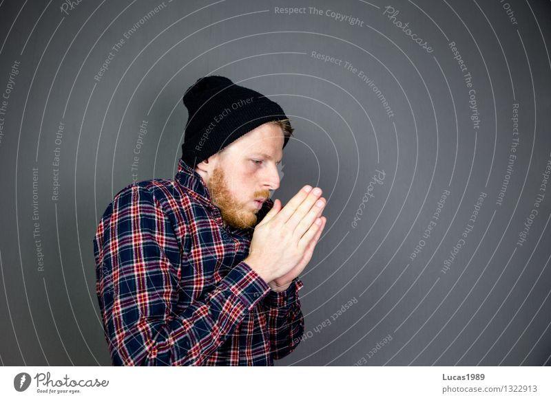Herbstwetter ist kalt Mensch Jugendliche Mann Junger Mann 18-30 Jahre Winter Erwachsene maskulin lernen Studium Sehnsucht Student Mütze Bart