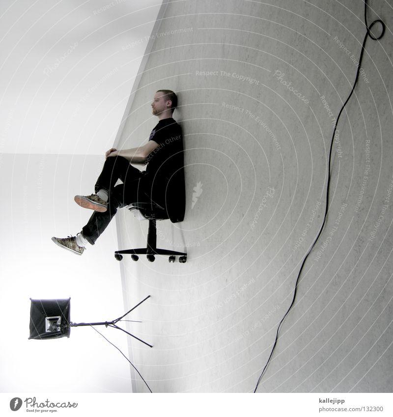 softboxen Mensch Mann weiß Wand Haare & Frisuren Büro Lampe Business Beleuchtung Arbeit & Erwerbstätigkeit Raum außergewöhnlich sitzen warten Elektrizität