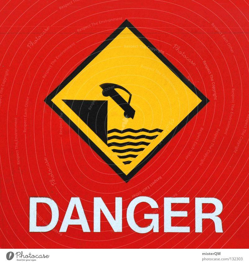 You never know. Wasser weiß rot Meer schwarz gelb Farbe PKW Park Schilder & Markierungen modern gefährlich bedrohlich Hinweisschild fallen unten