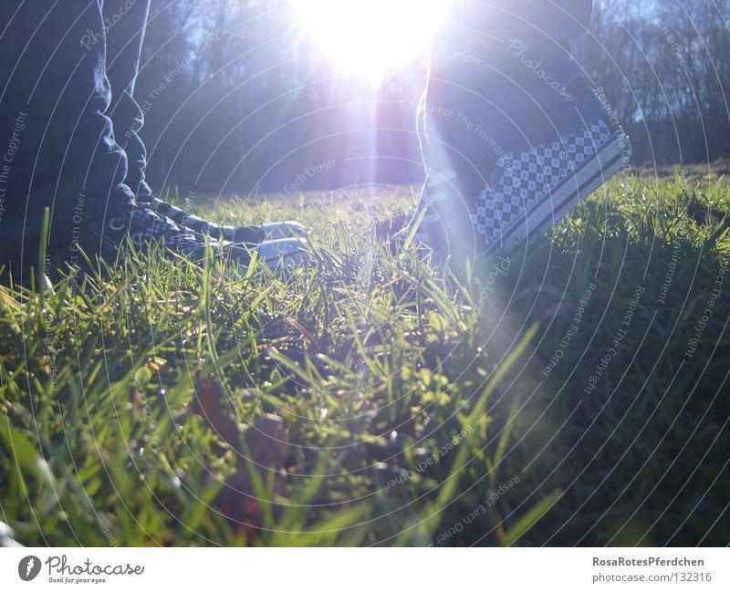together Jugendliche schön Sonne Sommer Liebe Gras Frühling Glück Fuß Freundschaft Schuhe hell Zusammensein klein groß Stern (Symbol)