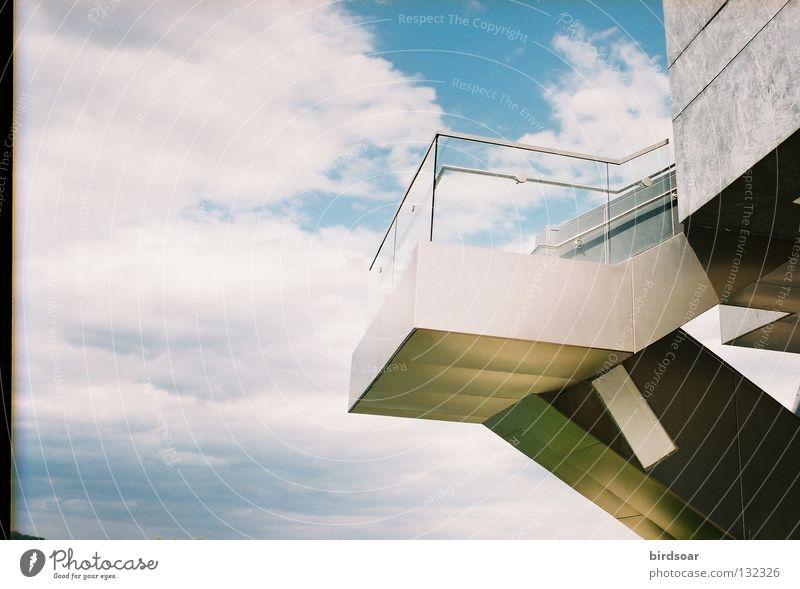 purpose? Himmel Wolken Gebäude Brücke modern Fluss Filmindustrie Bahnsteig