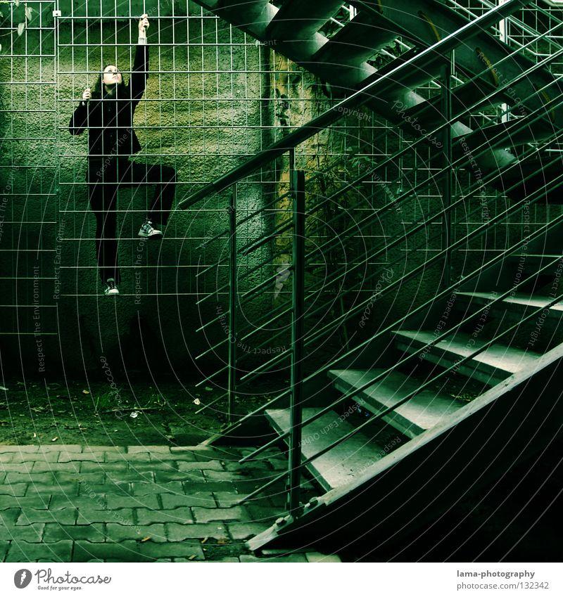 Urban Jungle Mensch Frau Natur Jugendliche grün Stadt schwarz Architektur springen Treppe Erfolg Ziel festhalten Geländer Klettern fangen