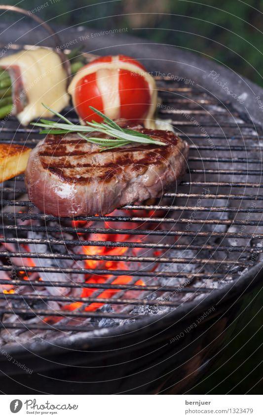 Mjamm Lebensmittel Fleisch Gemüse Abendessen Bioprodukte gut Völlerei gefräßig Grill Grillrost Glut Feuer Steak Rosmarin Tomate Bohnen Grilltomate Kohle