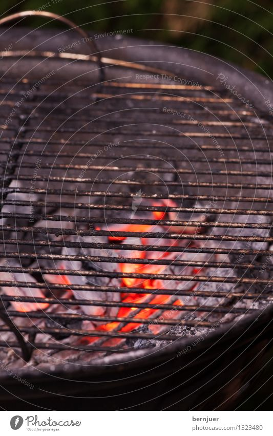 Leer Lebensmittel authentisch Billig heiß rot schwarz Selbstlosigkeit Wahrheit Kohle Glut Feuer Grill Grillrost Grillen Menschenleer Holzkohle Kugelgrill Rost