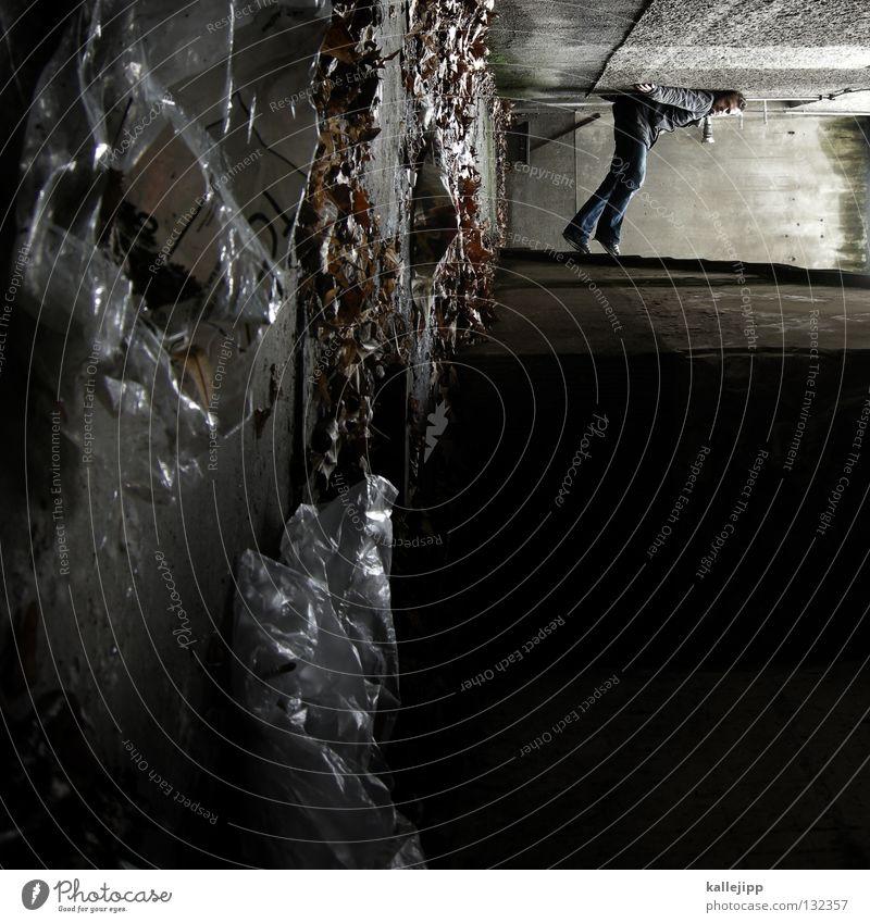 angst vor der dunkelheit Mann Silhouette Dieb Krimineller Rampe Laderampe Fußgänger Schacht Tunnel Untergrund Ausbruch Flucht umfallen Fenster Parkhaus