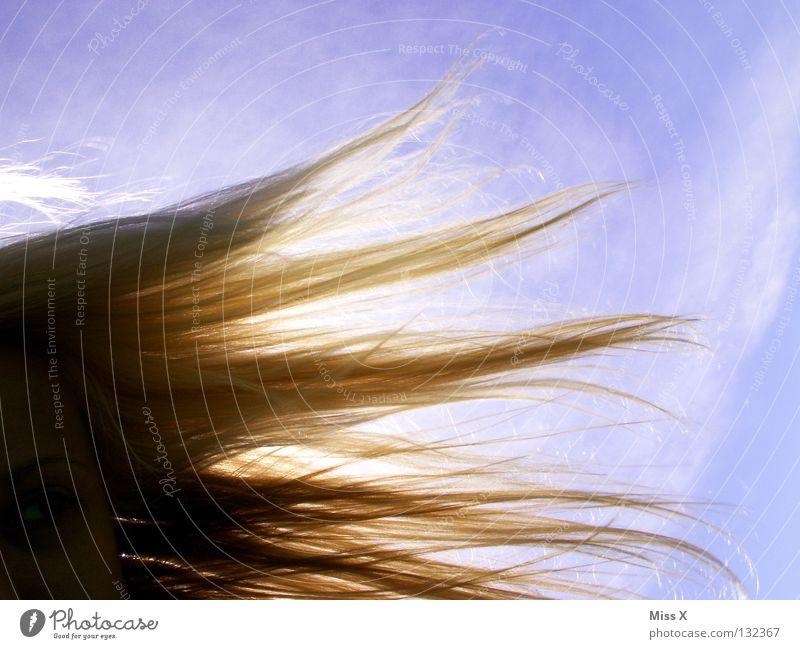 Sonntag, 20 Grad, die Frisur hält Frau Himmel blau Sonne Sommer Wolken Auge Haare & Frisuren Erwachsene Wind blond Beleuchtung frei Schönes Wetter