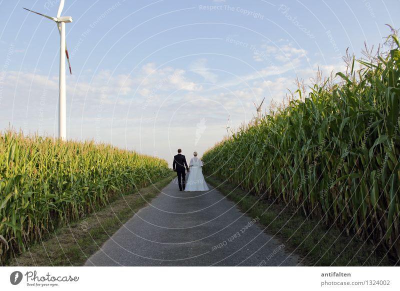 Zukunft Hochzeit Windkraftanlage Mensch maskulin feminin Frau Erwachsene Mann Paar Partner Leben 2 30-45 Jahre Natur Landschaft Sonne Sommer Schönes Wetter Feld