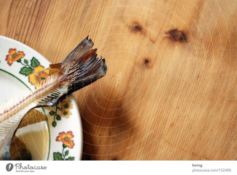 after Dinner Teller Tisch Schwanz Fischgräte Fett Schweinefilet Skelett Fleisch Küche Gastronomie Schwimmhilfe Scheune Haut Forelle geräuchert filetieren