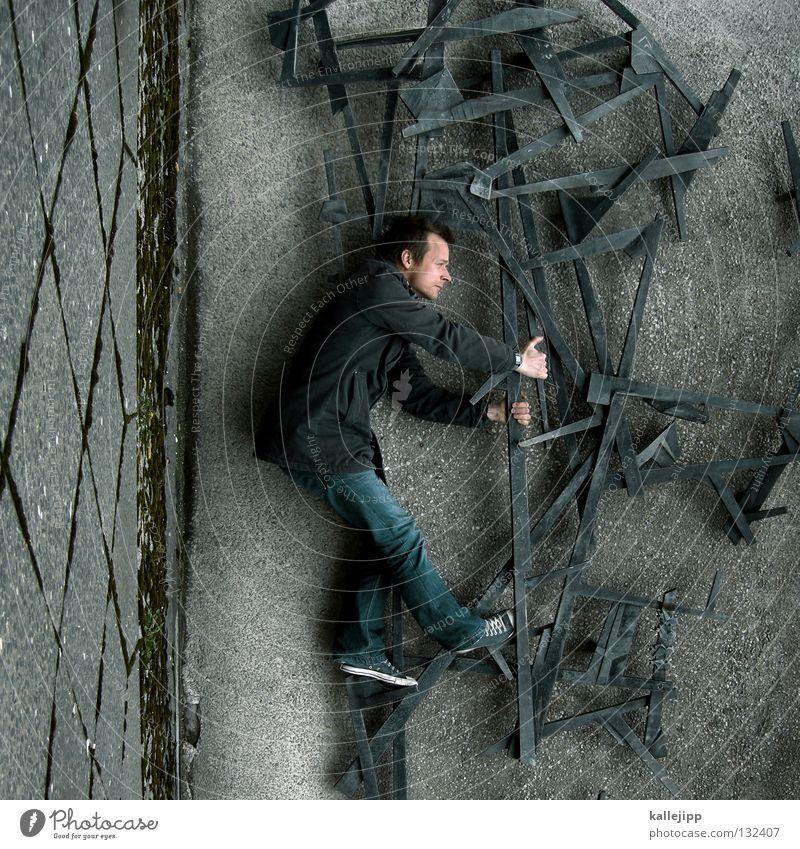 kunstliebhaber Kunst Mann Silhouette Dieb Krimineller Rampe Laderampe Fußgänger Schacht Tunnel Untergrund Ausbruch Flucht umfallen Fenster Parkhaus Geometrie