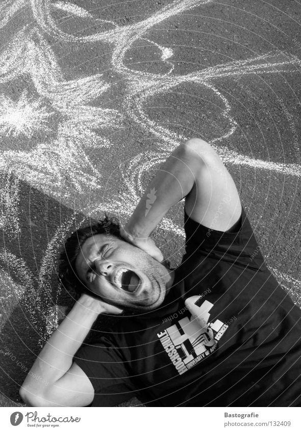 scream Knall Straßenkunst schreien Lautstärke Schwarzweißfoto Angst Panik Scream Schmerz Kawumm
