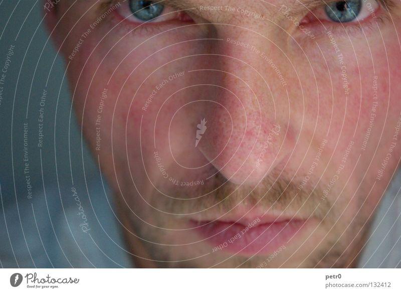 Porentief Mann Nahaufnahme Porträt ernst verschlafen skeptisch Bart stechend Denken Gesicht Müdigkeit Haut Nahaufname ruhig Auge Haare & Frisuren Detailaufnahme