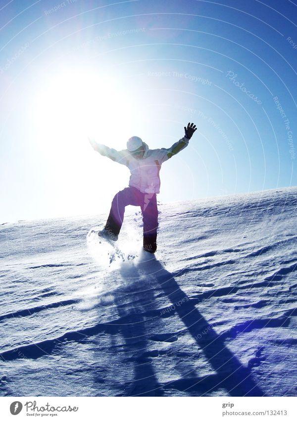 winter Sonne Winter Freude kalt Schnee Eis Skifahren hüpfen