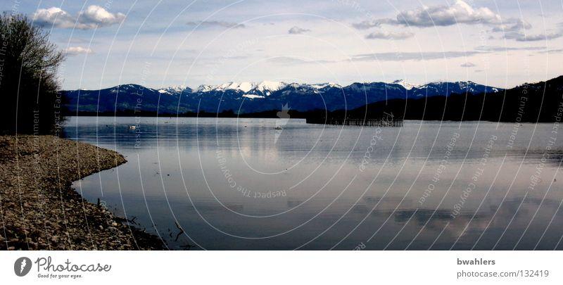 fast wie in Kanada See Wolken Baum Strand Gipfel Ferne ruhig Wasseroberfläche Frieden Reflexion & Spiegelung Berge u. Gebirge Himmel Küste Stein Schnee Alpen
