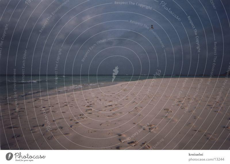 Spuren im Sand Himmel Meer Strand Ferien & Urlaub & Reisen ruhig Fußspur
