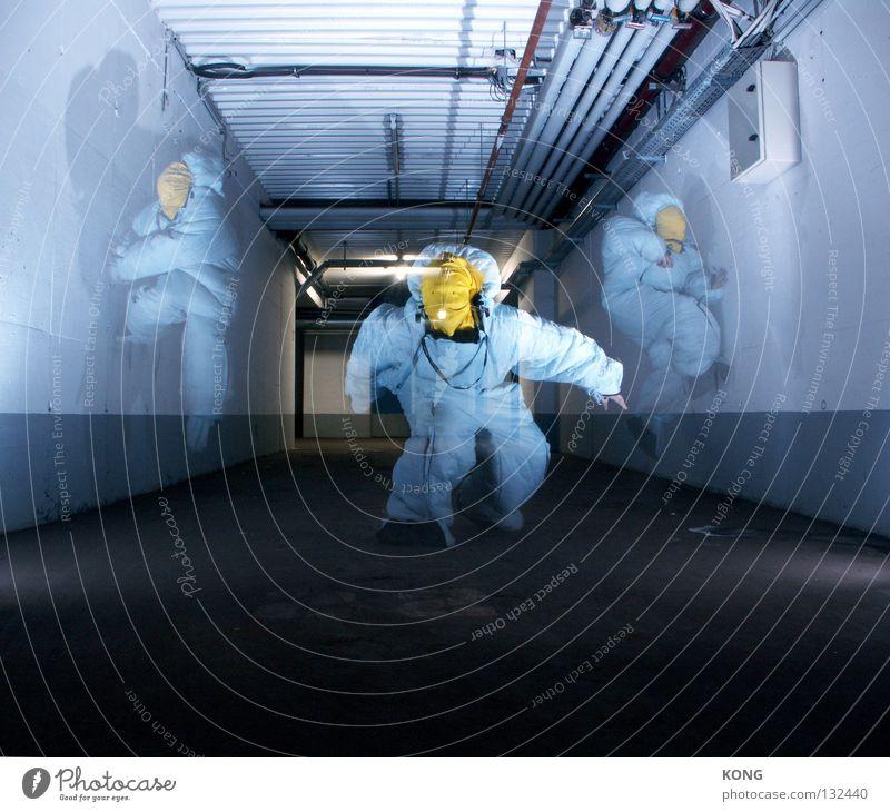 dreifacher Geschwindigkeit grau-gelb springen Anzug Schutzanzug hüpfen fliegen verdunkeln hellbraun Blindflug Arbeitsanzug Schweben Garage Tiefgarage Parkhaus