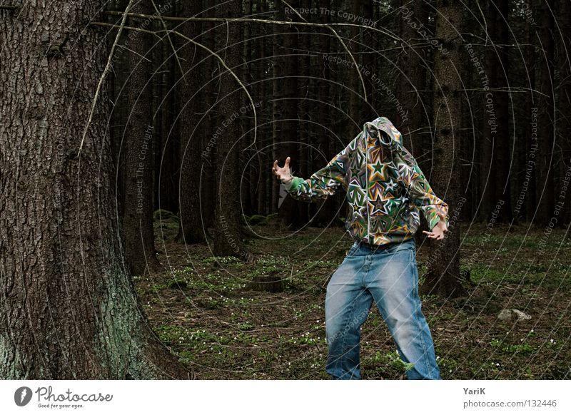 sternmonster Mann Hand Baum Freude Farbe Wald verrückt Stern (Symbol) Jeanshose Ast Hose Kot Jacke dumm Zweig Unsinn