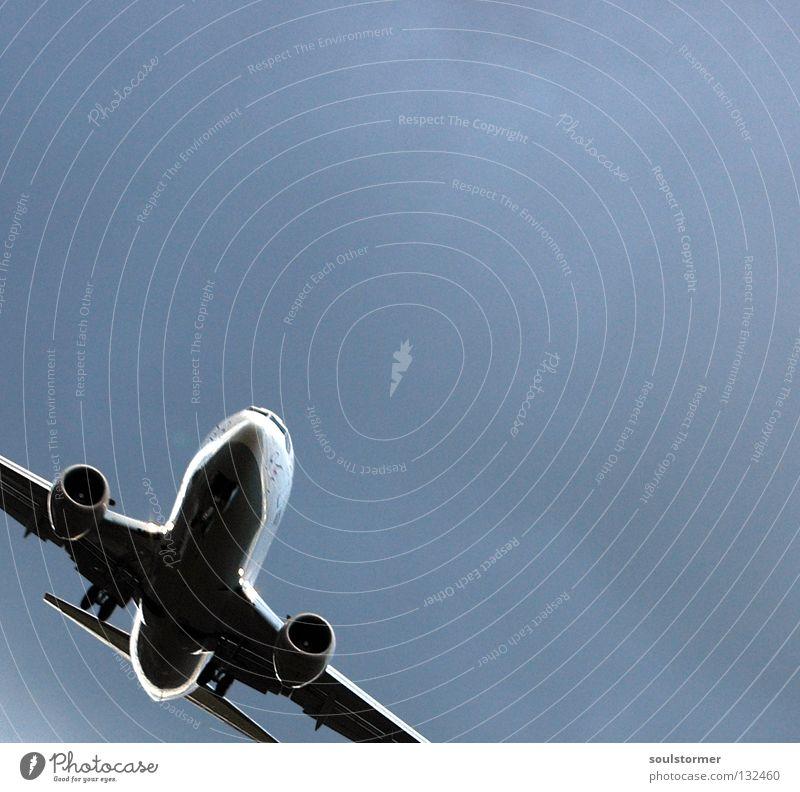 Schräglage Flugzeug Flugzeuglandung Wolken grau Wolkendecke schlechtes Wetter Ferien & Urlaub & Reisen Erholung kommen braun zurück Triebwerke Fahrwerk Mitte