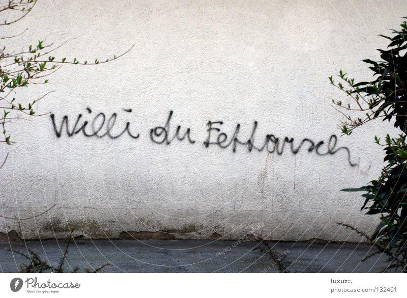 Klare Ansage Stadt Wand Graffiti Bildung Hinterteil Wut Ärger Redewendung Wandmalereien Psychoterror Beleidigung dissen