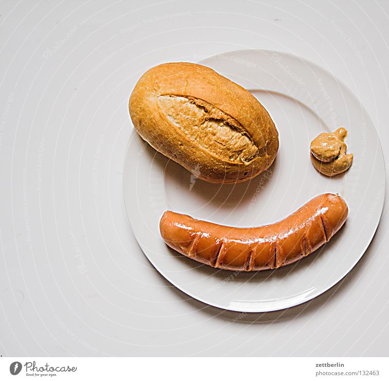 Frühstück Ernährung Küche Gastronomie Teller Fleck Brötchen Wurstwaren Bratwurst Fastfood knackig Pirat Jubiläum Kindergeburtstag Lebensmittel Senf Slowfood