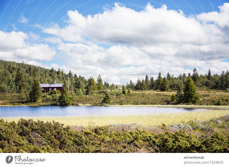 Rondane Nationalpark IV Himmel Natur schön Landschaft Wolken ruhig Haus Ferne Wald Berge u. Gebirge Umwelt natürlich Freiheit See Horizont wandern